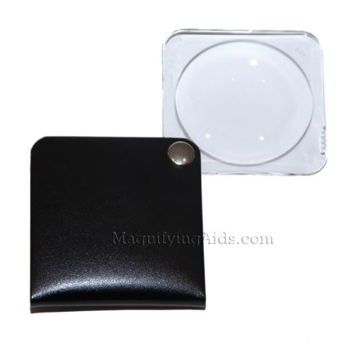 - 3.5X Eschenbach Leather Folding Square Pocket Magnifier - Black