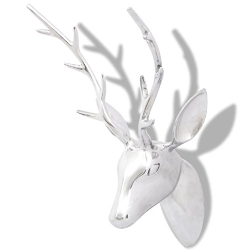 Price comparison product image vidaXL Wall-Mount Deer Head Animal Sculpture Wall Art Home Decor Aluminum 24.4""