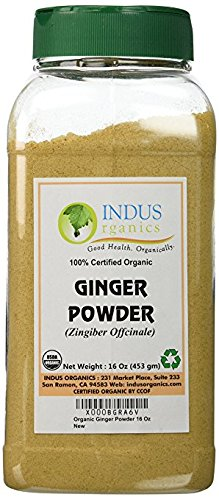 Indus Organics Ginger Powder, 1 Lb Jar, Sulfite Free, Premium Grade, High Purity, Freshly Packed
