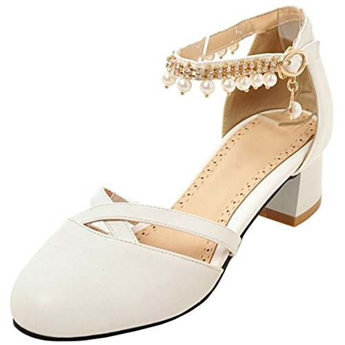 TAOFFEN Women Casual Closed Toe Ankle Strap Block Heel Pearl Buckle Sandals White 4MB9byy7