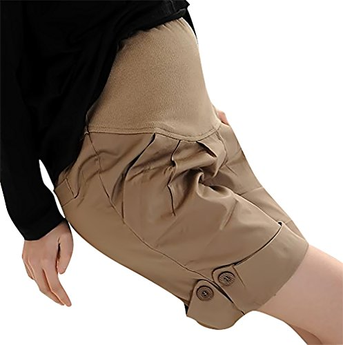 US&R, Women's Black Beige Turn Up Hem Pleated Secret Fit Belly, khaki 4 ,Manufacturer(M)