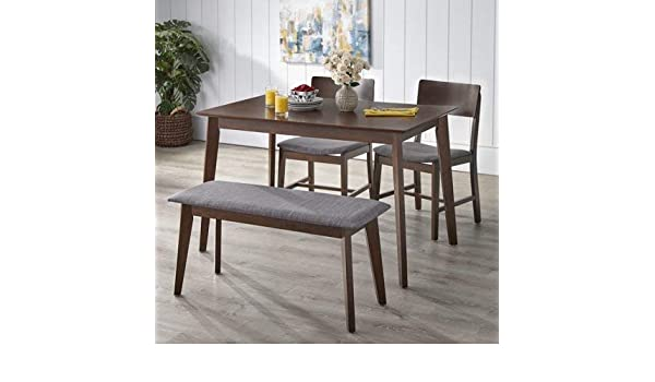 Stupendous Amazon Com Tms Tiara 4 Piece Dining Set With Bench Gray Andrewgaddart Wooden Chair Designs For Living Room Andrewgaddartcom