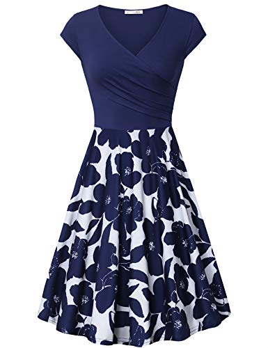 Messic Cocktail Dress Knee Length for Women Floral Prime Women's Cross Wrap V Neck Dresses Cap Sleeve Elegant Flared A Line Dress Multicolor Blue XX-Large