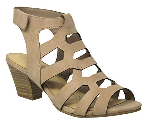 MVE Shoes Women's Open Toe-Ankle Chunky Heeled Sandals, Syrup Taupe NB 6.5