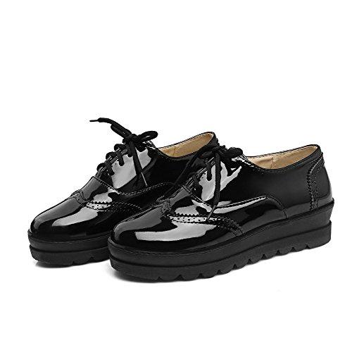Odomolor Women's Closed-Toe Low-Heels PU Solid Lace-up Pumps-Shoes, Black, 42