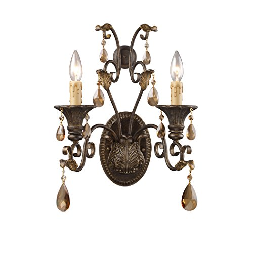 (Alumbrada Collection Rochelle 2 Light Sconce In Weathered Mahogany And Amber Crystal)
