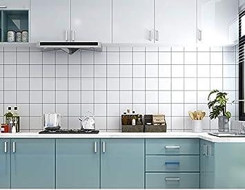 ROTEK - Papel pintado autoadhesivo resistente al agua, azulejos de pared, adhesivos de PVC, para cocina, baño, aseo, sala de estar, dormitorio, café, restaurante, cuadrado, color blanco: Amazon.es: Bricolaje y herramientas