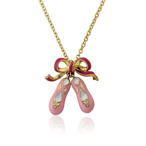 Little Miss Twin Stars 14k Gold-Plated Pink Enamel Bow and Ballerina Shoes Pendant Chain Necklace ()