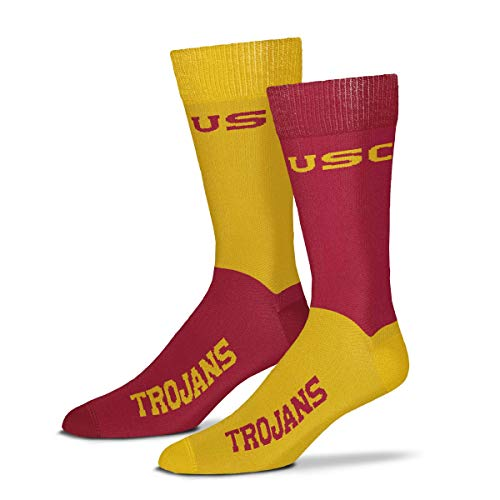 For Bare Feet Men's NCAA 4-Square Mismatch Dress Socks-Size Large (10-13) (USC Trojans)