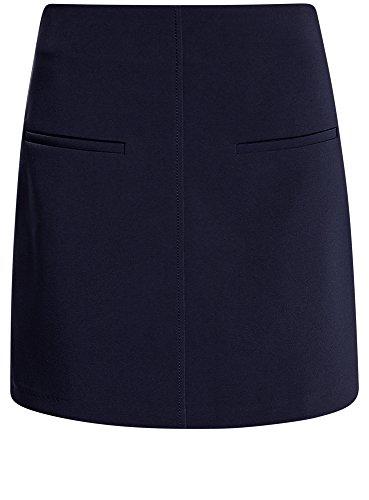 oodji Ultra Mujer Falda Trapecio con Bolsillos Decorativos Azul (7900N)