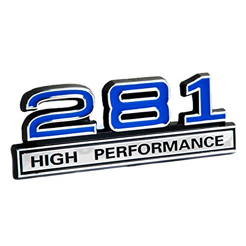 281 4.6 Liter High Performance Engine Emblem in Chrome & Blue Trim - 4