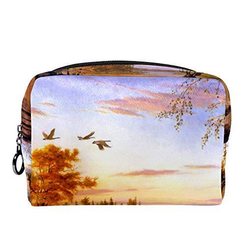 MAPOLO Peaceful Log Cabin Deer Flying Bird Makeup Bag Toiletry Bag for Women Skincare Cosmetic Handy Pouch Zipper ()