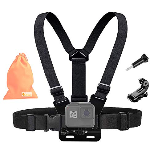 Harness Action (Kitway Chest Mount Harness, Adjustable Chest Strap Elastic Action Camera Body Belt with J Hoot Compatible with Akaso EK7000/DJI Osmo Pocket/Gopro Hero 7/6/5 Black, Session, Hero 4, Session,3+/3/2/1)