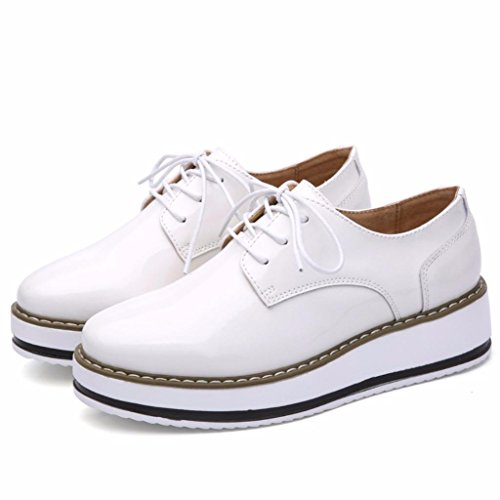 Moonwalker Casual Up Shoes Lace Wedge Womens Leather White Rvxp7rnRwq