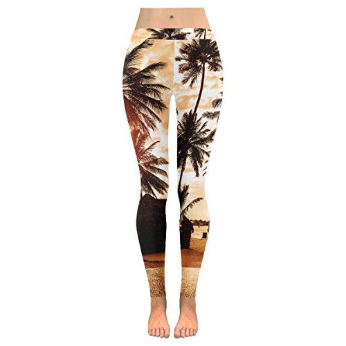 InterestPrint Tropical Sunset Palm Tree Custom Stretchy Capri Leggings Skinny Pants for Yoga Running Pilates Gym M