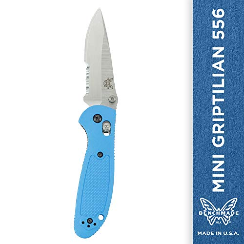 Benchmade – Mini Griptilian 556 EDC Manual Open Folding Knife Made in USA with CPM-S30V Steel, Drop-Point Blade, Serrated Edge, Satin Finish, Blue Handle