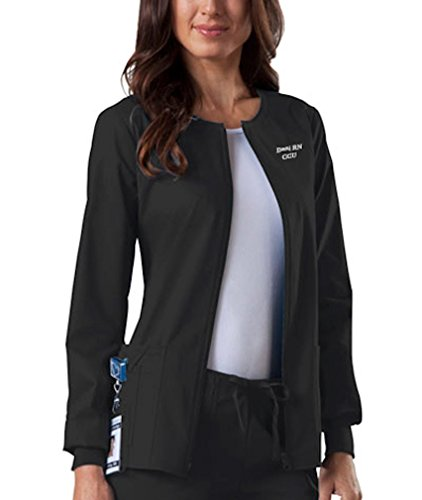 Embroidered Women's Workwear Scrubs Core Stretch Zip Front Warm-Up Jacket (Style 4315, Black, Large)