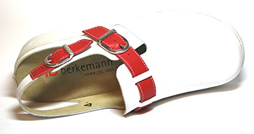 Berkemann - Zuecos de Piel para mujer Blanco blanco Blanco - Weiß (weiß/rot 124)