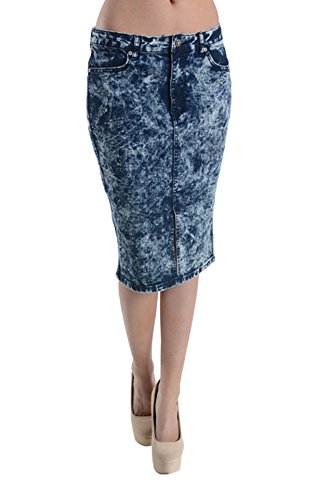 - American Bazi Acid Wash Denim Pencil Skirt RJSK148 - BLUE - Small D2D