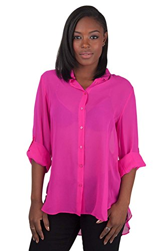 Poetic Justice Women's Pink 100% Silk Georgette Button Down Long Sleeve Blouse Size -