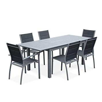 Salon de Jardin Table Extensible - Chicago 210 Gris - Table en Aluminium  150/210cm avec rallonge et 6 assises en textilène