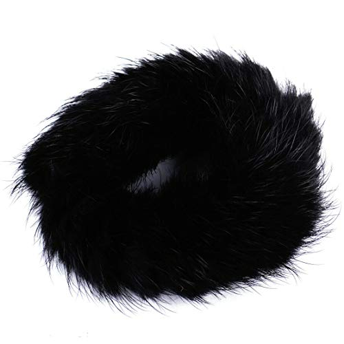 Frog Slide Pendant Jewelry - Women Fashion New Elastic Real Mink Fur Ponytail Holder Hair Band Rope Scrunchie (Color - Black)