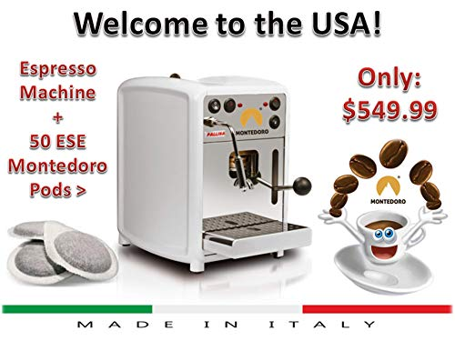 New! Montedoro Espresso E.S.E Pods Machine with steam Made in Italy. (color only Black and stainless steel only) (Ese Pod Maker)