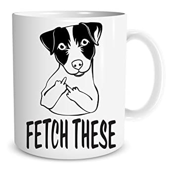Humorous /'Fetch This/' Middle Finger Coffee Mugs cup Funny Mug for Dog Lovers