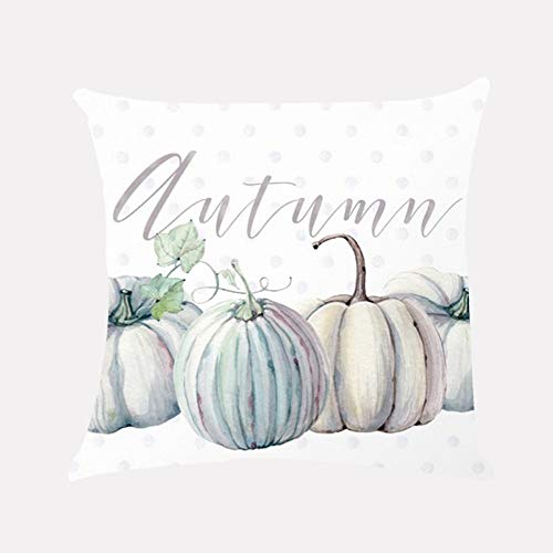 Autumn Throw Pillow Covers for Happy Halloween Pumpkin Truck Square Waist Cushion Cover for Sofa Bedroom Car Home Decor (C)]()