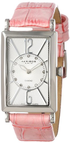 Akribos XXIV Women's AK543PK Essential Rectangular Stainless Steel Diamond Strap Watch