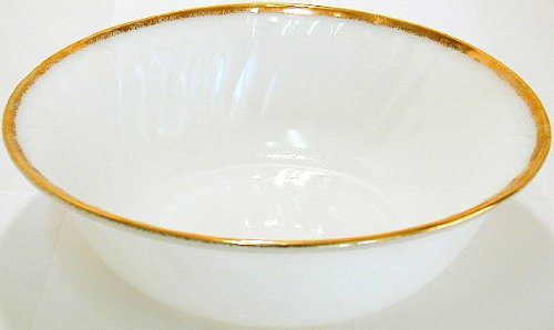 GL142 - Hocking Fire-King Swirl gold overlay vegetable bowl