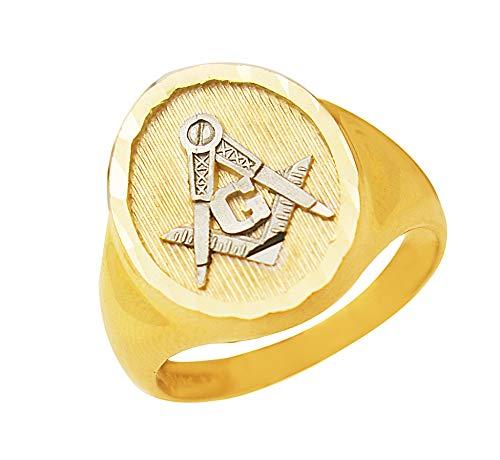 AMZ Jewelry Men's 10K Yellow Gold Masonic Ring 10k Yellow Gold Masonic Ring