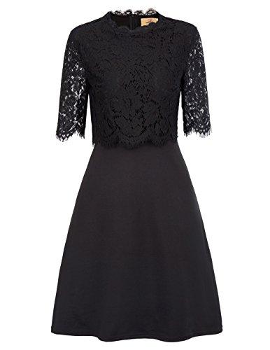 Grace Karin Women's Casual Floral Lace Vintage Wedding Short Dress S Black