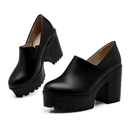 BalaMasa Girls round-toe solido imitato in pelle pumps-shoes, Nero (Black), 35