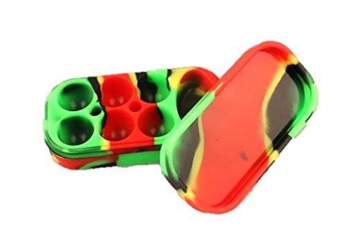 Multi compartment Silicone Concentrate Container Non stick Large Lego Style Wax Oil Cream Jar Dab 6 + 1 7 In 1 Multi color Red / Yellow / Green / Black