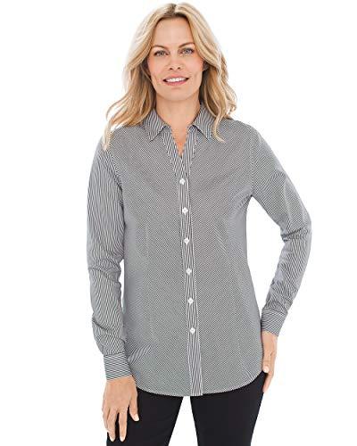 Chico's Women's Caroline No-Iron Cotton Sateen Button-Up Shirt Size 12 L (2) Black/White Stripe from Chico's