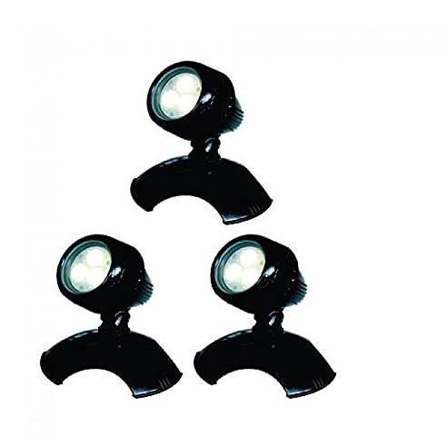 AquaForte Teich und Garten LED Lampen HP3-1, 3x 3 W, 12 V, schwarz ...