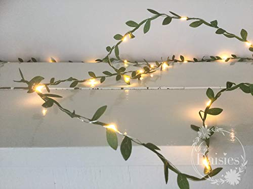 Green leaves fairy lights 2m-10m 20-100 LED - string lights garland - Battery Powered - Wedding Christmas Decorations - spring decorations - Warm White - Leaf Fairy Lights - Green Leaf Garland - Garlands Indoor 6 Light
