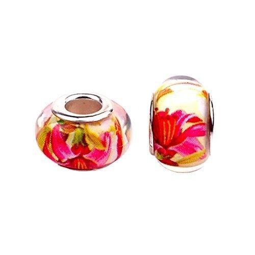 - Bling Stars Lily Flower Lampwork Murano Glass Charms Beads For Snake Chain Bracelets