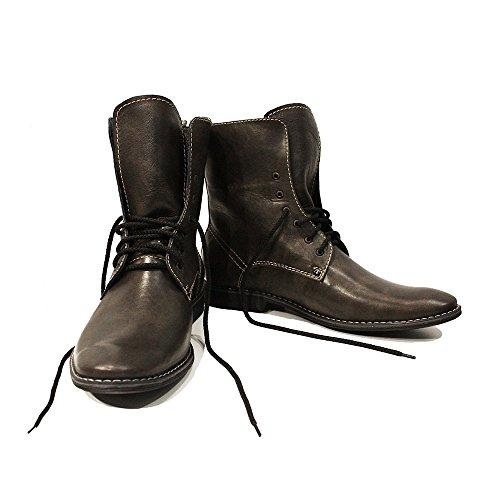 PeppeShoes Modello Uberto - Handmade Italiano da Uomo in Pelle Grigio Stivali Alti - Vacchetta Pelle Morbido - Allacciare