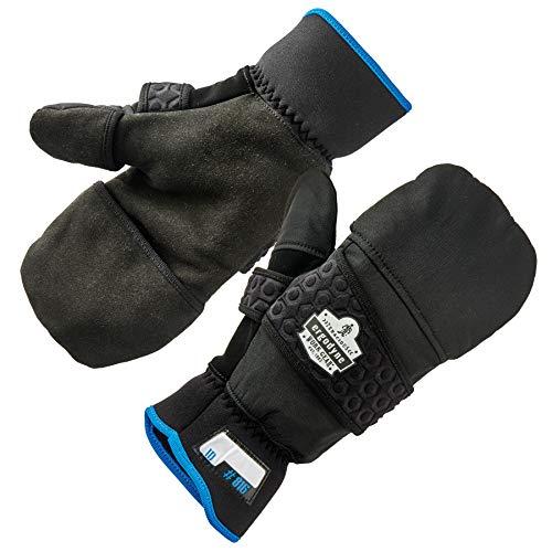 Ergodyne ProFlex 816 Convertible Winter Work Gloves with Flip Top Mitten, Black, Medium