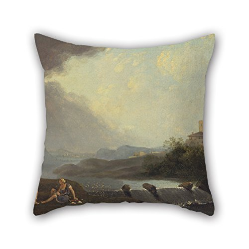 [Uloveme Oil Painting Thomas Jones - An Imaginary Italianate Landscape With Classical Figures And A Waterfall Throw Pillow Case 18 X 18 Inches / 45 By 45 Cm For Lover,bedroom,shop,kitchen,home] (Minion Costume Falls Over)