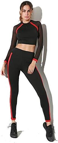 レディースジャージ上下セット 女性のヨガの服は黒と赤の色のスポーツスーツをステッチラウンドネックメッシュスーツ (サイズ : L)
