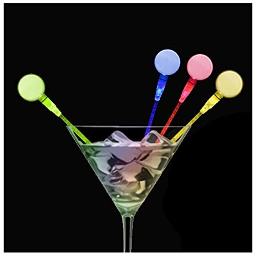 Lumistick LED Light Up Circle Cocktail Stirrers (Assorted, 25 Pack) by Lumistick