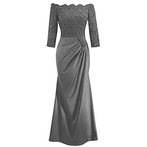 Women's Off Shouler Retro Floral Lace Vintage 2/3 Sleeve Slim Ruched Wedding Bridesmaid Formal Long Maxi Dress