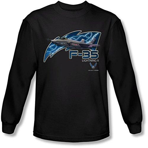 F35 manga negro Camiseta Air para hombre de larga Force 7pzSnxwqP