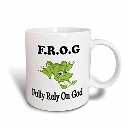 3dRose F.R.O.G Fully Rely on God Faith Religion Belief Ceramic Mug, 15-Ounce by 3dRose
