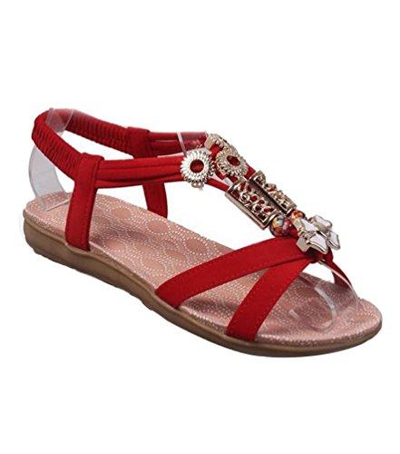 De Sandalias Strap Rojo Con T Yiiquan Bohemia Estilo2 Playa Sandalias Cuentas Mujer Zapatillas z6w1qnZp