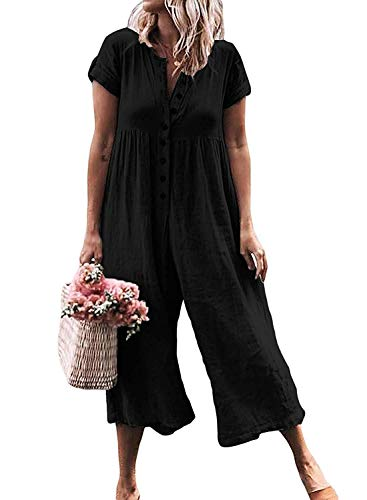 LAMISSCHE Womens Casual Button Down Short Sleeve Jumpsuit Romper Solid Loose Wide Leg Long Pants(Black,S)