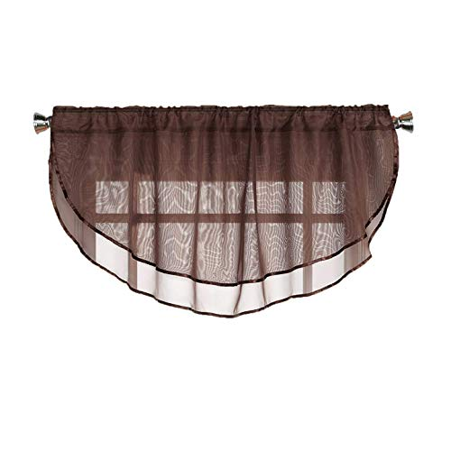 - Sheer Voile Valance Curtain for Windows Size 54 in X 24 in Scalloped with Ribbon for Kitchens, Living Room, Dining Room, Bathroom, Bay Windows, Basement, Laundry Room (Chocolate Brown)